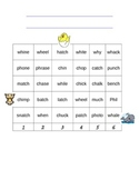 Digraphs wh, ph, ch, tch Roll/Read/Cover
