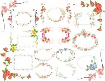 Digtal Floral Frames Clip Art Flower Frames Borders Digital Floral Clip Art