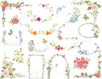 Digtal Floral Frames Clip Art Flower Frames Borders Digital Floral ClipArt