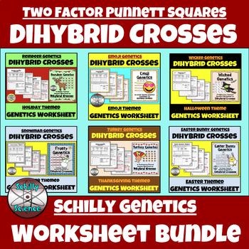 Dihybrid Cross Worksheet Bundle (Two-factor Punnett Squares)
