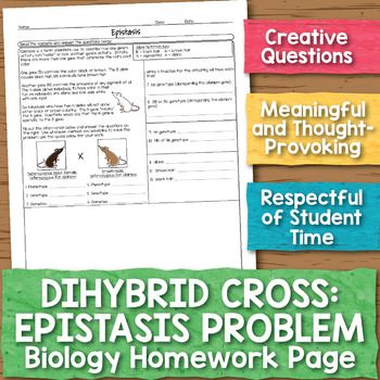 Dihybrid Cross With Epistasis Biology Homework Worksheet Tpt