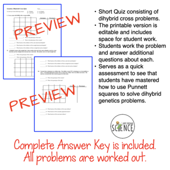 Genetics:  Dihybrid  Quiz