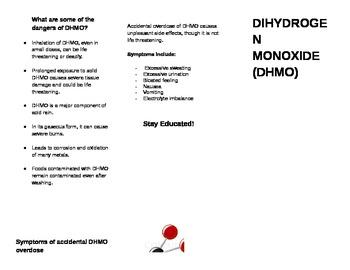 Dihydrogen Monoxide Warning Pamphlet