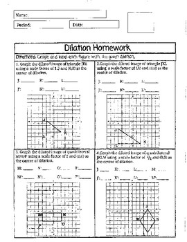 Dilation Homework
