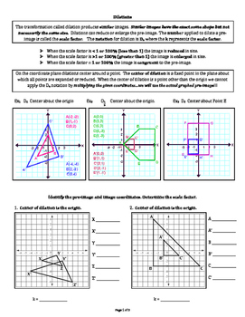 Dilation on the Coordinate Plane