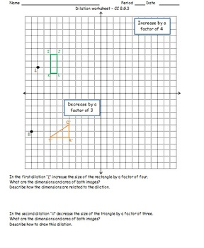 dilation worksheet cc 8 g 3 by math monkey teachers pay teachers. Black Bedroom Furniture Sets. Home Design Ideas