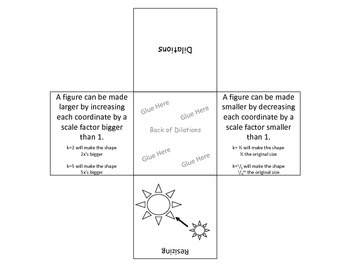Dilations Foldable (Aligned to Support CCSS 8.G.3 and 8.G.4)