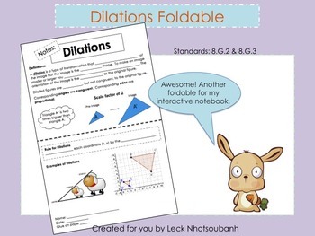 Transformations: Dilations Foldable for Interactive Notebook