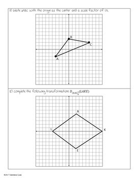 Dilations Guided Lesson and Practice Worksheet Function Notation