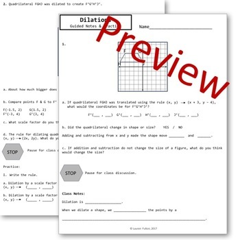 Dilations Guided Notes & Practice - Transformations