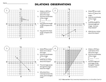 Dilations Observations Worksheet, Common Core
