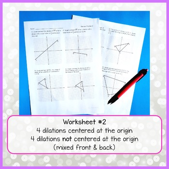 Dilations Practice Worksheets by Busy Miss Beebe   TpT