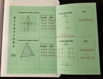 Dilations on a Coordinate Plane - Part 2 (Foldables)