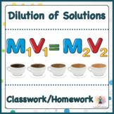 Dilution of Solutions Classwork / Homework