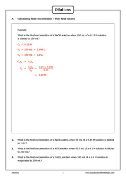 Dilutions - Diluting Chemical Solutions