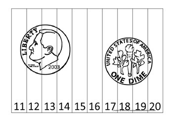 Dime Coin 11-20 Number Sequence Puzzle. Financial education for preschool child.