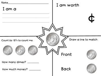 Dime - Math Money Center, Money Unit, Summer Packet