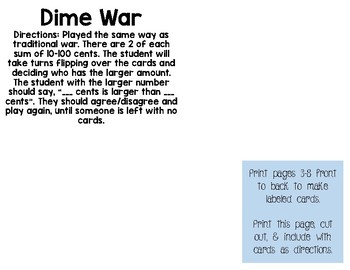 Dime War - A money counting card game