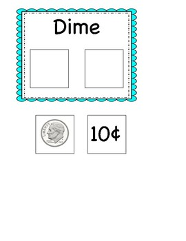 Dime matching card (coin identification)