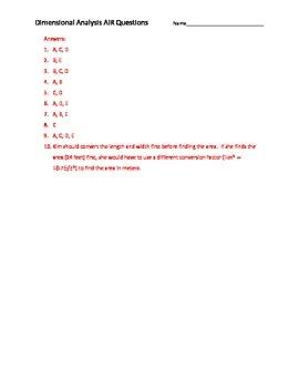 Dimensional Analysis AIR EOC Questions
