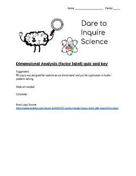 Dimensional Analysis (Factor Label) Quiz with answer key
