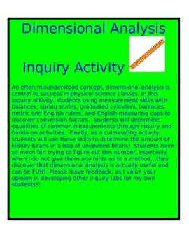 Dimensional Analysis Inquiry Activity