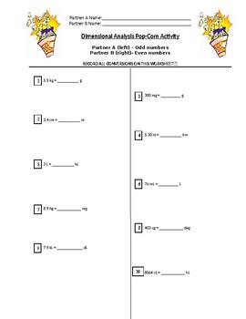 Dimensional Analysis Popcorn Activity