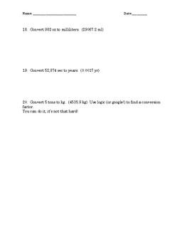Dimensional Analysis Practice I W/KEY