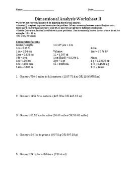 Dimensional Analysis Practice II W/KEY