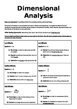 Dimensional Analysis Problems