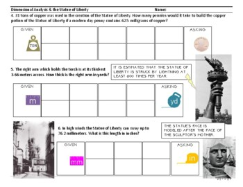 Dimensional Analysis Statue of Liberty Worksheet (L2, Part 2)