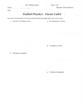 Dimensional Analysis or Factor Label Method Packet