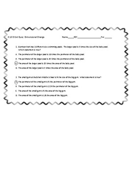 Dimensional Change 8.10D Exit Quiz