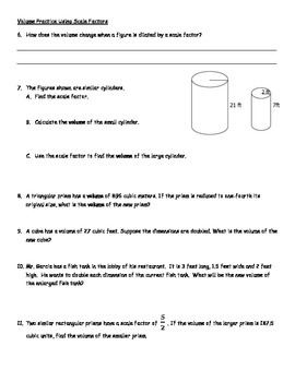 Dimensional Change of Surface Area & Volume Using Scale Factors