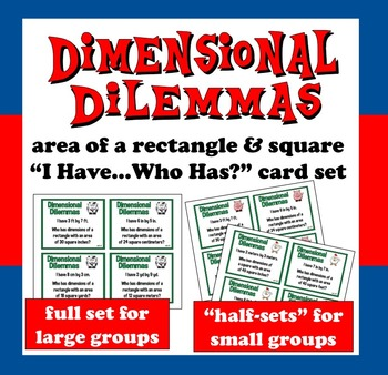 "FREE Dimensional Dilemmas area of a rectangle  ""I Have...Who Has?"" cards"