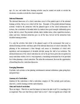 Dimensions of a School Curriculum