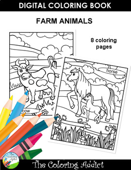 Farm Animals Coloring Book by The Coloring Addict | TpT