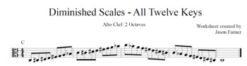 Diminished Scales - Alto Clef - 2 Octaves
