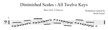 Diminished Scales - Bass Clef - 2 Octaves