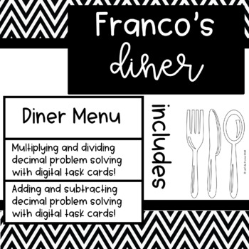 Diner Menu and Add Subtract Multiply and Divide Decimals Task Cards