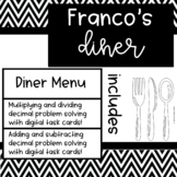 Diner Menu and Add Subtract Multiply and Divide Decimals T