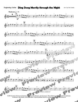 Ding Dong Merrily through the Night (sheet music for guitar ensemble)