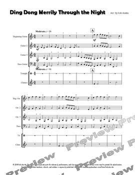 Ding Dong Merrily through the Night (sheet music for guitar ensemble)
