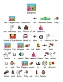 Dingers - Sesame Street muppets - picture supported text review lesson questions