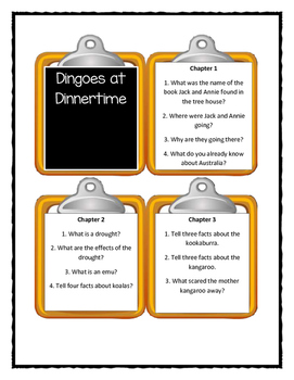 Magic Tree House DINGOES AT DINNERTIME - Discussion Cards