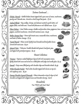FUNCTIONAL MATH Dining Out Menus