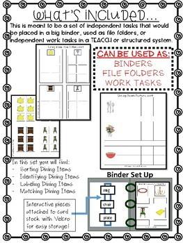 Dining Room Work Tasks or File Folders