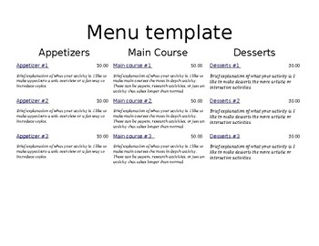 Dinner Menu Project TEMPLATE