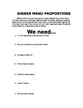 Dinner Menu Proportions