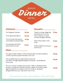 Dinner Menus for Novels